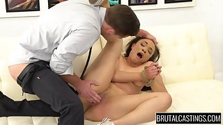 Bound and ball gagged girl fingered and fucked by master