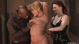 Jumping on a sturdly friend's cock is the favorite sport of Flower Tucci