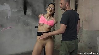 Tied girl Miki Love gets her pussy pleased by friend's vibrator