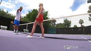 Johnny Castle teaches stepsister Serena Avery play tennis and suck big penis