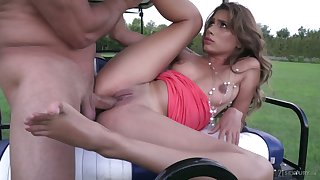 Wild golf girl Marceline is brutally fucked by aroused stud on the golf field