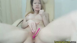horny 30 year old girl masturbating with lush