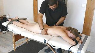 Tickling girl on her bare soles