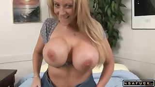 Huge tits MILF takes 2 monster black cocks