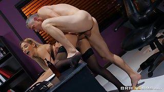 Hot secretary bends ass for the boss to devour her ass