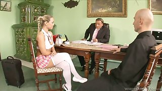 To get office position slutty Mia Leone gives a kinky blowjob