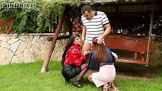 Outdoor threesome sex with clothed slutty chicks Nia and Connie