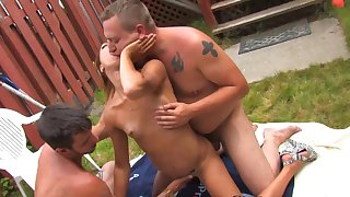 Dolly Princess is shared by two bucks at a backyard party