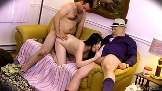 Teenage fucked in both holes by two older men