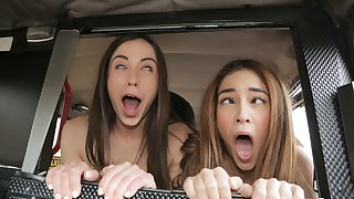 George Uhl & Ginebra Bellucci & Anastasia Brokelyn in Cheeky Spanish Lesbians fuck Cabbie - FakeHub