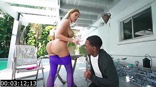 Big-Titted blond, Victoria June is having bi-racial fuck-fest with a ebony fellow, during the day