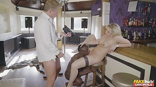 Stiff white and black dick fills Karlie Simon up completely