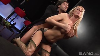 Seductive blonde stripper Stacy Saran pleasures her handsome client