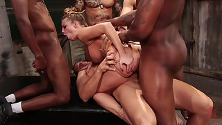 Brutal gang bang with a bunch of males for this thick woman