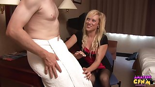 Pale dude gets his dick stroked by seductive blonde Axa Jay