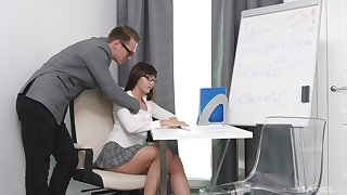 Shy Russian chick Lana Ray gets fucked on the chair while working
