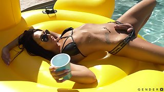 Ultimate group sex with transsexual models by the pool