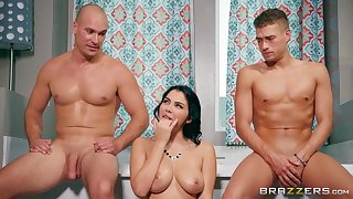 Nude brunette tries hard sex with two men and deep anal