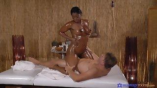 Fat ebony slut massaged and fucked by a large white cum gun