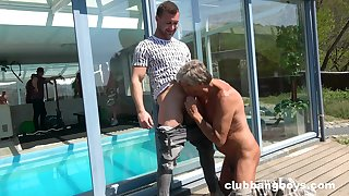 Mature man sucks young gay man's dick in charming modes