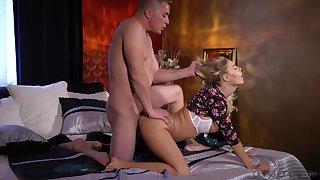 Stud employs intriguing positions when ass fucking Florane Russell