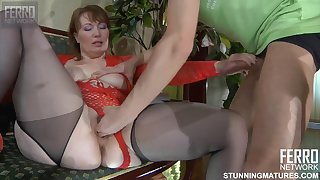 Fat ass Russian mature MILF with young skinny boy - amateur sex