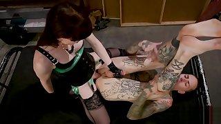 Transgender babe dominates bdsm blokes ass