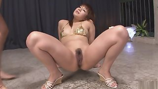 Bikini-clad brunette cutie pussy fondled and fucked with dil