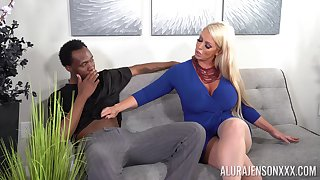 Black dude got surprised with a blowjob and sex by Alura Jenson