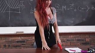 Super juggy teacher Faye Rampton is dildo fucking sex-starved cunt