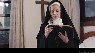 Sinful lesbian nun Mona Wales is licking and finger fucking juicy pussy