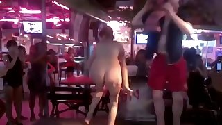 Drunk girl public bar strip